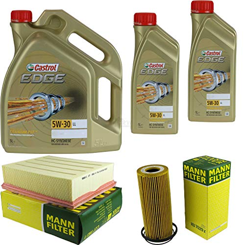 Castrol EDGE Titanium FST 5W-30 LL MANN-FILTER - Juego de filtros de aceite (7 L)