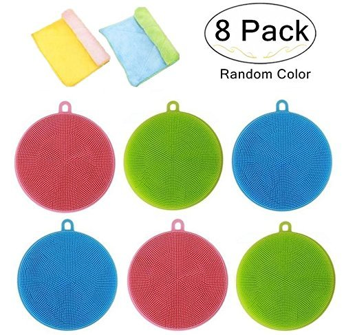 6 Pack Antibacterial Silicone Dishwashing Scrubbers and 2 Cleaning Cloth for Bonus, Carnatory Dish Towel Scrubber, Fruit and Vegetable Washer Heat Insulation Pads for Kitchen Wash Pot Pan Dish Bowl