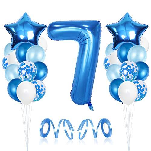 Bluelves Luftballon 7. Geburtstag Blau, Geburtstagsdeko Jungen 7 Jahr, Happy Birthday Folienballon, Deko 7 Geburtstag Junge, Riesen Folienballon Zahl 7, Ballon 7 Deko zum Geburtstag