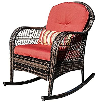 Sundale Outdoor Wicker Rocking Chair Rattan Outdoor Patio Yard Furniture All- Weather with Cushions & Lumbar Pillow (Red)