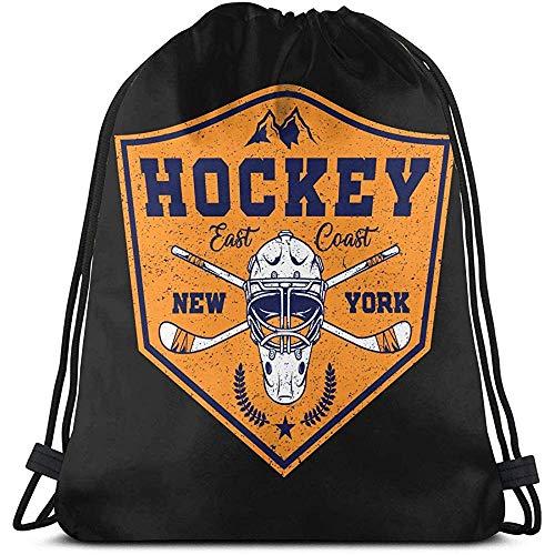 BOUIA Unisex Drawstring Bag Hockey mit New York Emblem Rucksack Sport Gym Schultasche