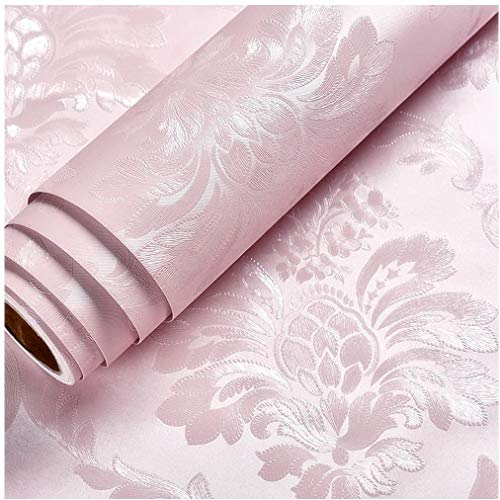 Blooming Wall Peel and Stick Prepasted Gold Damasks Floral Wallpaper (Pink)
