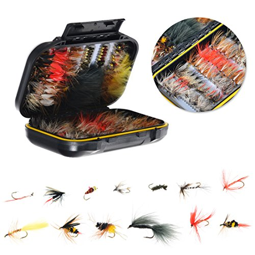 FISHINGSIR 120PCS Fly Fishing Flies Set Assorted Dry/Wet Flies Fly Fishing Lures with Waterproof Fly Box