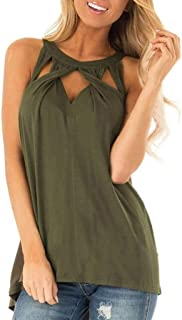 Fitfulvan Women's Sexy Hanging Neck Tank Tops Cross Hollow Sleeveless Strapless Vest Comfort Elegant T-Shirt Blouse