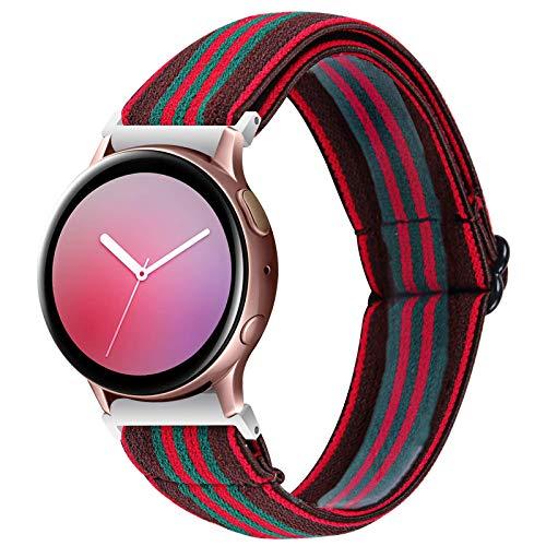 Correa de reloj de liberación rápida de 20 mm compatible con Samsung Galaxy Watch 42 mm / Active2 44 mm 40 mm/Gear Sport/Gear S2 Classic, correa deportiva de repuesto de nailon (Rainbow, 20 mm)