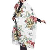 Tengyuntong Pashmina Wrap Manta Bufanda, Mujer Pashmina Bufanda, Vintage Floral Skulls Lana Bufanda de gran tamaño Ponchos Pashmina Chales y Envolturas