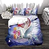 BEDSETAAA 3D Katze Einhorn Bettwäsche Vierteilige Western Style Haushalts Leinen Kissenbezug Quilt Textil Baumwolle 155x215cm 1