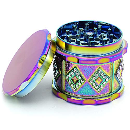 SNVIN Herb Grinder with Rhinestones for Grinding Herbs and Vanilla (Colorful)