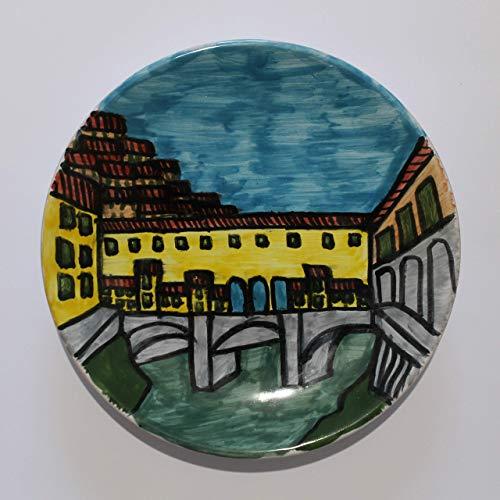 Puente Viejo de Florencia-Plato de cerámica decorado a mano, diámetr