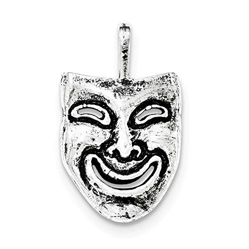 Hermosa cadena de plata de ley 925 con diseño de máscara sonriente envejecida