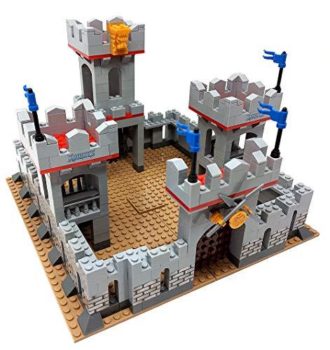 Modbrix Bausteine Ritterburg, Burg mit Ritter Figuren, 686 Klemmbausteine, Konstruktionsspielzeug