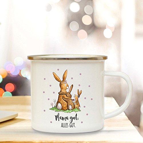 ilka parey wandtattoo-welt Emaille Becher Camping Tasse mit Hasen Häschen & Spruch Mama gut Alles gut Kaffeetasse Geschenk eb105