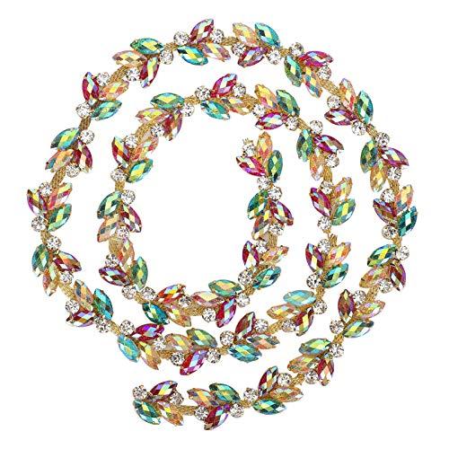 Uxsiya - Gonna resistente con finiture in cristallo, per bagagli, abbigliamento e scarpe (2 cm di larghezza catena di diamanti giallo-verde