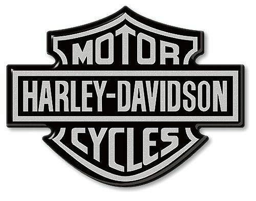 Logo emblème Autocollants en résine 3D pour réservoir de Moto Compatible avec Harley Davidson 95x70 Argent