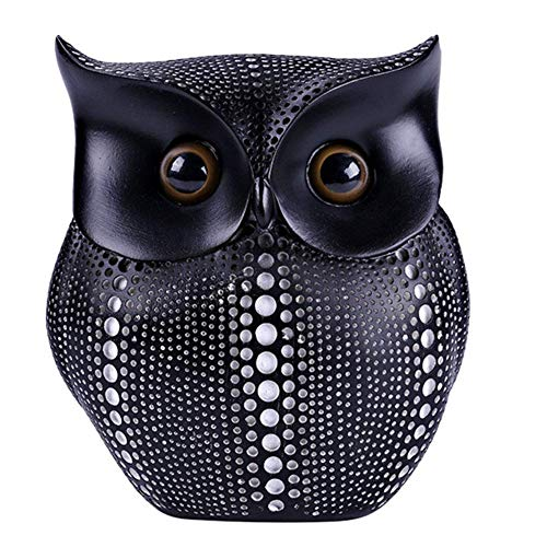 APAN Cute Small Sculpture Desk Decorations Resin Modern Animals Ornaments Crafts Figurines Collectibles,Owl Figurine Statue Black 14x7x15cm