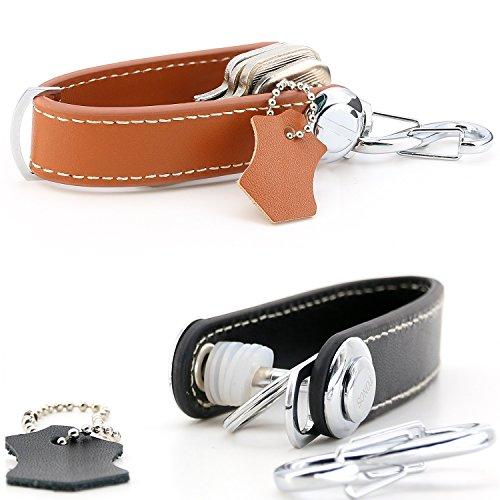 TONOS Best Compact Key Holder Key Organizer Secure Locking Mechanism Expandable Key Holder Hook Up to 8 Keys & Tools Made by Premium Quality Leather -Twin Set