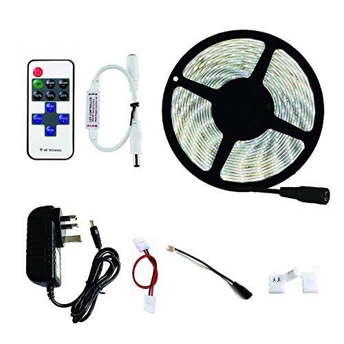 HVTKL, 3528, flexibele LED-strip, koudwit, 6000 K, 300 led, dimbaar, IP65 waterdicht, led, met 12 V stroomvoorziening en draadloze afstandsbediening
