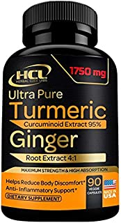 Turmeric and Ginger Supplement - 1750mg Extra Strength Curcumin Extract with Ginger - Strong Natural Pain Relief & Joint Support Pills - Anti-Inflammatory and Antioxidant Support - 90 Capsules
