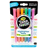 Crayola Take Note Highlighters and Dual Tip Pens, Assorted Colors, School Supplies, At Home Crafts for Kids, 6 Count