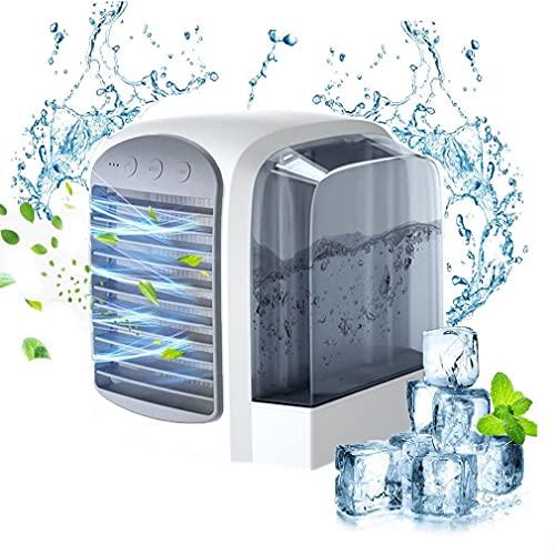 Air Cooler Aire acondicionado portátil móvil, Mini Personal Enfriador de Aire Ventilador de escritorio, Silencioso Humidificador, Purificación Carga USB 3 velocidades ajustables Speed