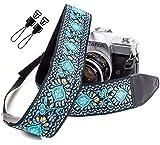 dragonne de caméra tissée vintage bleue pour tout appareil photo reflex numérique...