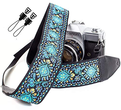 Blue Woven Vintage Camera Strap Belt For All DSLR Camera – Embroidered...