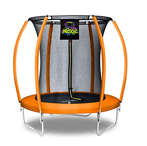 Moxie by Upper Bounce 6 FT Pumpkin-Shaped Outdoor Trampoline with Enclosure – Sturdy Top-Ring...