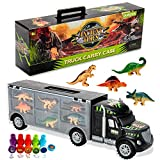 Oumoda Dinosaur Truck, Transport Car Carrier Truck Toy with 6 Dinosaurs Toys Inside and 10 Dinosaur Stamps, Gifts for Kids/Boys Toy for Ages 3, 4, 5, Years Old and Up