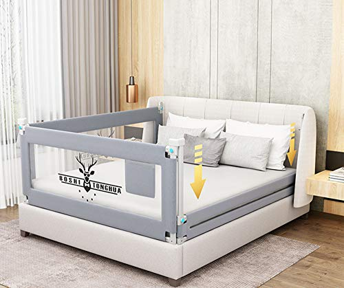 Lsbod Toddlers Bed Rails Extra Long Swing Down Baby Bed Guards Fold Down Safety Bedrail with Dear Pattern Kids Guardrail with Y-Strap for Twin Double Full Size Queen King(1side 71' Lx27 H)