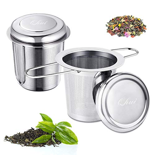 Teesieb für Losen Tee, 304 Edelstahl Teefilter, Ultra Fein Mesh Teeei Infuser mit Deckel und Faltbare Doppelgriffen, Tee Brauer für Tasse, Teekanne und Teeschalen Silber (2 Stücke)