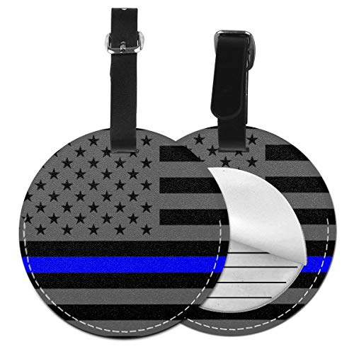 Luggage Tags Blue Line Flag Policeman Law Suitcase Luggage Tags Business Card Holder Travel ID Bag Tag