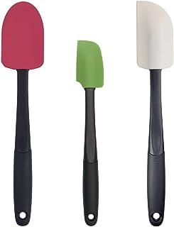 OXO Good Grips 3-piece Silicone Spatula Set, Raspberry/White/Green