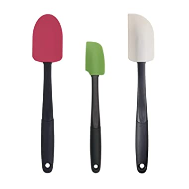 OXO Good Grips 3-piece Silicone Spatula Set, Raspberry/White/Green