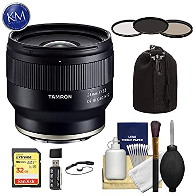 Tamron 24mm f/2.8 Di III OSD M 1:2 Lens for Sony E with 32GB SD Card, Filter Set, Cleaning Kit, Lens Pouch & Deluxe Bundle from K&M