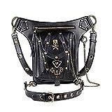 YPFALP Shoulder Bag Mens Women Skull Punk Shoulder Bag Belt Bags Purse Ladies Leather Handbag...