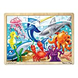 Melissa & Doug Under the Sea Wooden Jigsaw Puzzle (Preschool, Sturdy Wooden Construction, 24 Pieces, Great Gift for Girls and Boys - Best for 3, 4, and 5 Year Olds)