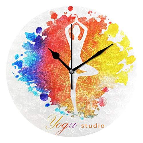 SUNOP Uhr für Kinder, mit Öl Bedruckt, 1 Boho-Mandala-Yoga, Wanduhren für Wohnzimmer, Schlafzimmer und Küche, Vintage Schreibtisch und Regal Uhren