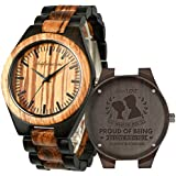 Engraved Wooden Watches, Personalized Engraved Wood Watch Japanese Movement Battery Anniversary Birthday Graduation Gift for Husband Love Dad Mom Son Friend Engraved Watch (for Boyfriend/Husband)