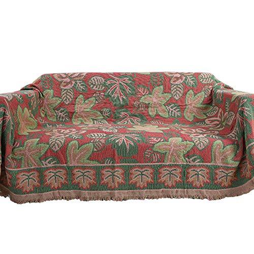 BAIVIT Multifunktions Sofabezug, Wendbare Decke aus weicher Baumwolle mit Ahornblatt Muster, für Sofa, Sessel, Bettüberwurf,230x250cm
