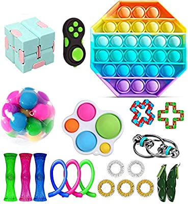 Fidget Toy Packs, Set De Juguetes Sensoriales Fidget Baratos con Simple Dimple Pop Bubble Infinite Cube Stress Ball y Anti Stress Relief Toy Stress Ball (22 Piezas G) de YCYC