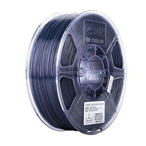 eSUN 3D 1.75mm PETG Semi-Transparent Gray Filament 1kg (2.2lb), PETG 3D Printer Filament, 1.75mm Glass Gray