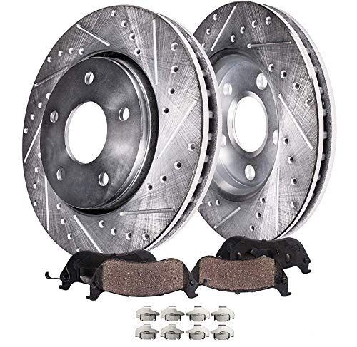 Detroit Axle - 300MM Front Drilled & Slotted Replacement Brake Kit Rotors Ceramic Pads for 2001-2003 Acura CL - [1999-2008 TL] - 2004-2010 TSX - [2003-2011 Honda Accord] - See Fitment