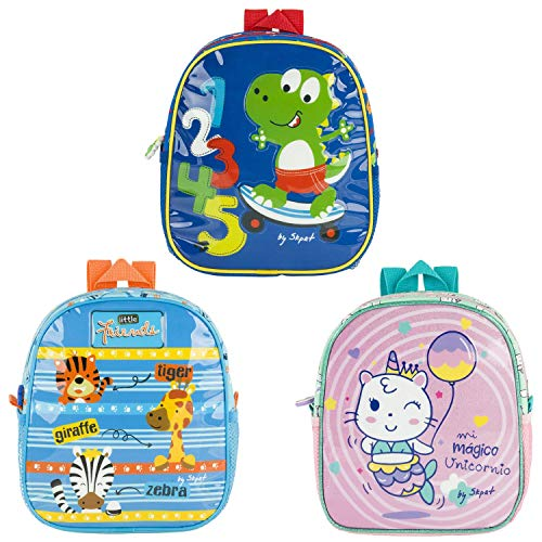 SKPAT - Pack de 3 Mochilas Baby para Niño y Niña con Forro Isotérmico, Manterner la Temperatura. Tarjeta de identificación Personal en la Parte Trasera. 132150, Color Surtido