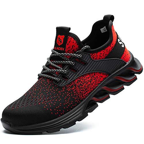 [JACKS HIBO] 安全靴 レッド あんぜん靴 メンズ レディース作業靴 レッド 通気性 鋼先芯 セーフティーシューズ 耐摩耗 工事現場 防刺 耐滑 ワークシューズ安全靴
