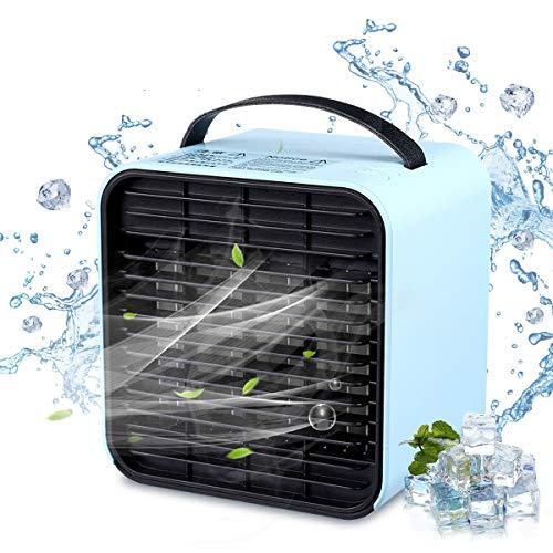 Janolia Aire Acondicionado USB, Mini Air Enfriador Portátil Acondicionado sin Ruido, Enfriamiento con Iones Negativos, 3 Velocidades Y LED Luz Nocturna, 127 * 120 * 132mm
