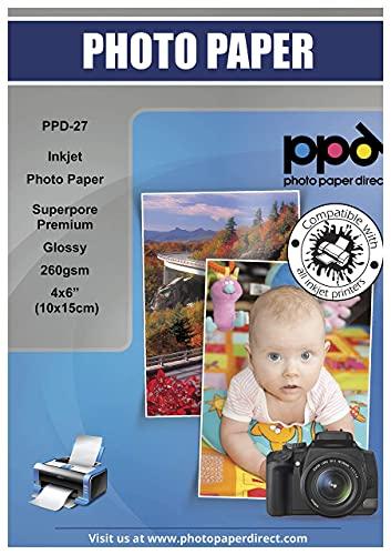 """PPD 10x15cm (6x4"""") 50 Fogli 260g Carta Fotografica Lucida Professionale Per Stampanti Ad Inchiostro - PPD-27-50"""