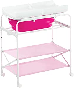 MY1MEY Pink Baby Diaper Station Table Foldable for Infant  Newborn Changing Clothes Multifunction Bath Dresser with Bathtub