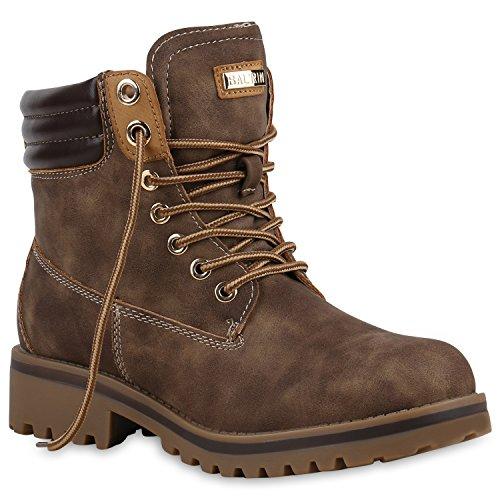 Warm Gefütterte Stiefeletten Damen Worker BootsOutdoor Winterstiefel Schnür Wildleder-Optik Schuhe 125750 Braun 41 Flandell