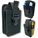 Nylon Dual Pocket Phone Holster. Belt Clip Pouch with Adjustable Quick Release Buckle Closure. Carry Two Phones, Face Mask, Notepad, Portable Charger, Insulin Pump, Multi-Tool or Utility Knife.