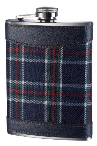 Premier Housewares Fiaschetta in acciaio INOX con fantasia scozzese, 236 ml, 14 x 10 x 3 cm, colore: Blu
